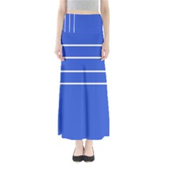 Stripes Pattern Template Texture Blue Full Length Maxi Skirt