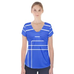 Stripes Pattern Template Texture Blue Short Sleeve Front Detail Top
