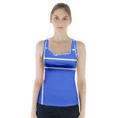 Stripes Pattern Template Texture Blue Racer Back Sports Top