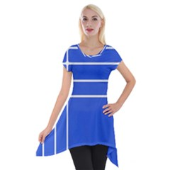 Stripes Pattern Template Texture Blue Short Sleeve Side Drop Tunic