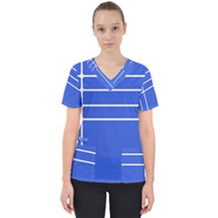 Stripes Pattern Template Texture Blue Scrub Top