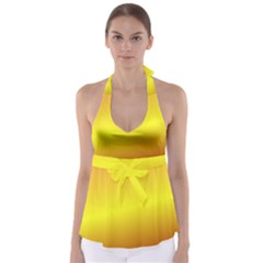 Gradient Orange Heat Babydoll Tankini Top