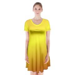 Gradient Orange Heat Short Sleeve V Neck Flare Dress
