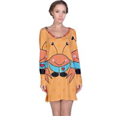 Crab Sea Ocean Animal Design Long Sleeve Nightdress