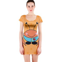 Crab Sea Ocean Animal Design Short Sleeve Bodycon Dress