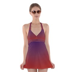 Course Colorful Pattern Abstract Halter Swimsuit Dress