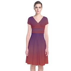 Course Colorful Pattern Abstract Short Sleeve Front Wrap Dress