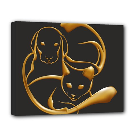 Gold Dog Cat Animal Jewel Dor¨| Deluxe Canvas 20  X 16