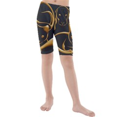 Gold Dog Cat Animal Jewel Dor¨| Kids  Mid Length Swim Shorts