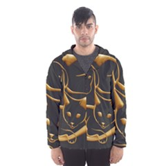 Gold Dog Cat Animal Jewel Dor¨| Hooded Wind Breaker (men)