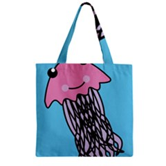 Jellyfish Cute Illustration Cartoon Zipper Grocery Tote Bag