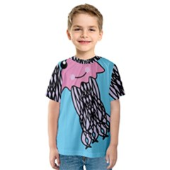 Jellyfish Cute Illustration Cartoon Kids  Sport Mesh Tee