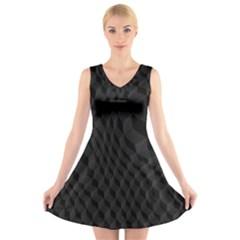 Pattern Dark Black Texture Background V Neck Sleeveless Skater Dress