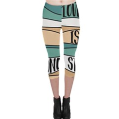 Love Sign Romantic Abstract Capri Leggings