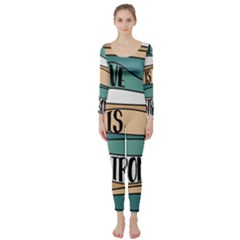 Love Sign Romantic Abstract Long Sleeve Catsuit
