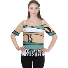 Love Sign Romantic Abstract Cutout Shoulder Tee