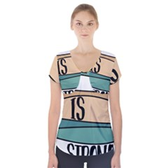 Love Sign Romantic Abstract Short Sleeve Front Detail Top