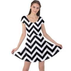 Wave Background Fashion Cap Sleeve Dress