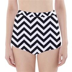 Wave Background Fashion High Waisted Bikini Bottoms