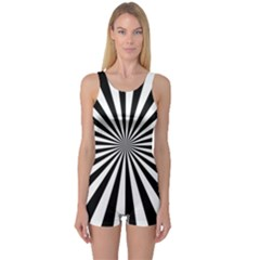 Rays Stripes Ray Laser Background One Piece Boyleg Swimsuit