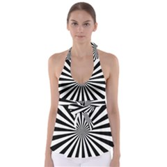 Rays Stripes Ray Laser Background Babydoll Tankini Top