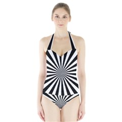 Rays Stripes Ray Laser Background Halter Swimsuit