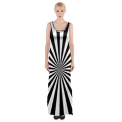 Rays Stripes Ray Laser Background Maxi Thigh Split Dress