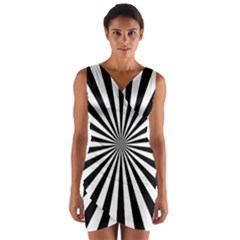 Rays Stripes Ray Laser Background Wrap Front Bodycon Dress