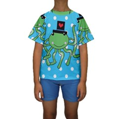 Octopus Sea Animal Ocean Marine Kids  Short Sleeve Swimwear