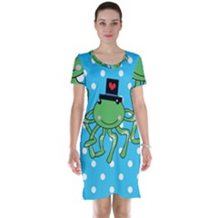 Octopus Sea Animal Ocean Marine Short Sleeve Nightdress