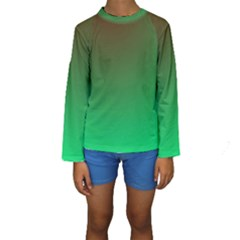 Course Colorful Pattern Abstract Green Kids  Long Sleeve Swimwear