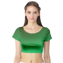 Course Colorful Pattern Abstract Green Short Sleeve Crop Top