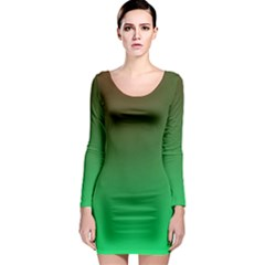Course Colorful Pattern Abstract Green Long Sleeve Bodycon Dress