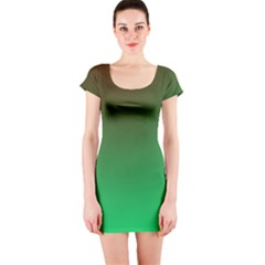 Course Colorful Pattern Abstract Green Short Sleeve Bodycon Dress