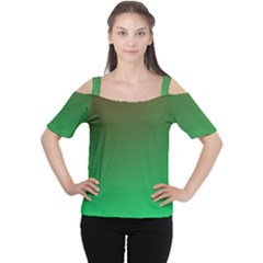Course Colorful Pattern Abstract Green Cutout Shoulder Tee