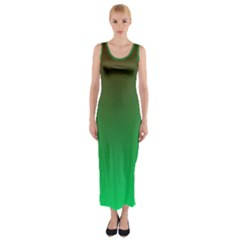 Course Colorful Pattern Abstract Green Fitted Maxi Dress