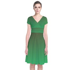 Course Colorful Pattern Abstract Green Short Sleeve Front Wrap Dress