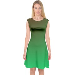 Course Colorful Pattern Abstract Green Capsleeve Midi Dress