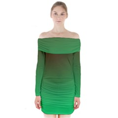 Course Colorful Pattern Abstract Green Long Sleeve Off Shoulder Dress