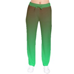 Course Colorful Pattern Abstract Green Drawstring Pants