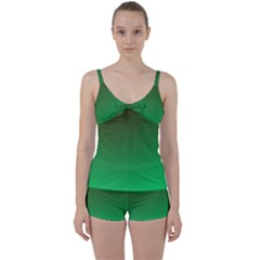 Course Colorful Pattern Abstract Green Tie Front Two Piece Tankini