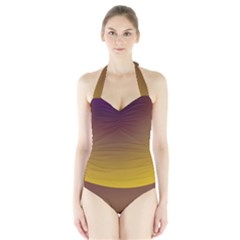 Course Colorful Pattern Abstract Halter Swimsuit