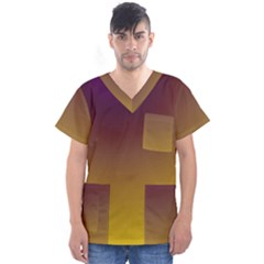 Course Colorful Pattern Abstract Men s V Neck Scrub Top