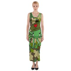 Octopus Army Ocean Marine Sea Fitted Maxi Dress