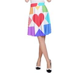 Heart Love Romance Romantic A Line Skirt