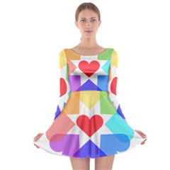 Heart Love Romance Romantic Long Sleeve Skater Dress