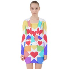 Heart Love Romance Romantic V Neck Bodycon Long Sleeve Dress