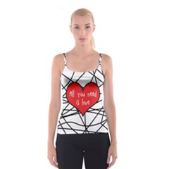 Love Abstract Heart Romance Shape Spaghetti Strap Top