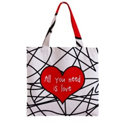 Love Abstract Heart Romance Shape Zipper Grocery Tote Bag