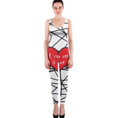 Love Abstract Heart Romance Shape Onepiece Catsuit